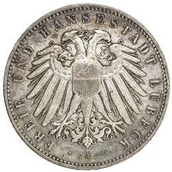 LUBECK: AR 5 mark, 1907-A. AU