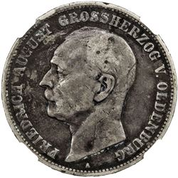 OLDENBURG: Friedrich August, 1900-1918, AR 5 mark, 1901-A. NGC F15