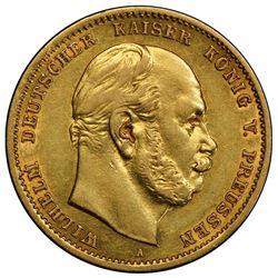 PRUSSIA: Wilhelm I, 1861-1888, AV 10 mark, 1875-A. PCGS AU55