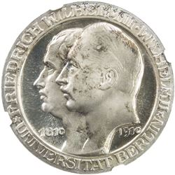 PRUSSIA: Wilhelm II, 1888-1918, AR 3 mark, 1910-A. NGC PF66