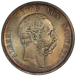 SAXONY: Albert, 1873-1902, AR 5 mark, 1902-E. NGC MS66