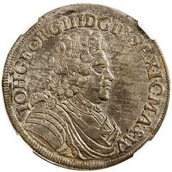 SAXE-ALBERTINE LINE: Johann Georg III, 1680-1691, AR 2/3 thaler, 1690 IK. NGC MS63