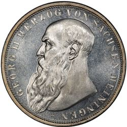 SAXE-MEININGEN: Georg II, 1866-1914, AR 3 mark, 1908-D. PCGS MS65