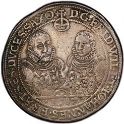 SAXE-OLD-WEIMAR: Friedrich Wilhelm I and Johann III, 1573-1602, AR thaler, 1587. PCGS VF35