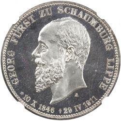 SCHAUMBURG-LIPPE: Albrecht Georg, 1893-1911, AR 3 mark, 1911-A. NGC PF66