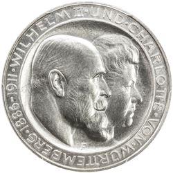 WURTTEMBERG: Wihelm II, 1891-1918, AR 3 mark, 1911-F. PCGS PF67