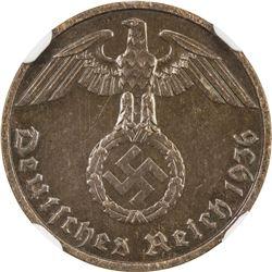 GERMANY: Third Reich, AE reichspfennig, 1936-E. NGC AU58