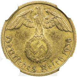GERMANY: Third Reich, 10 reichspfennig, 1936-G. NGC AU55