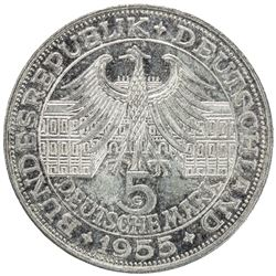 GERMANY: Bundesrepublik, AR 5 mark, 1955-G. AU