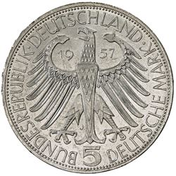GERMANY: Bundesrepublik, AR 5 mark, 1957-J. AU