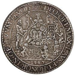 ENGLAND: Elizabeth I, 1558-1603, AR medal (47.11g), 1587. VF