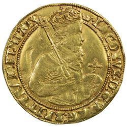 ENGLAND: James I, 1603-1625, AV unite. F-VF