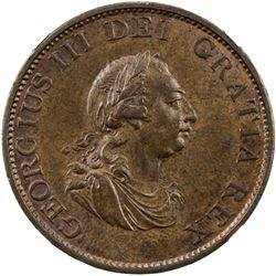 GREAT BRITAIN: George III, 1760-1820, AE halfpenny, Soho mint, 1799. NGC MS62