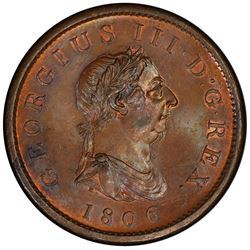 GREAT BRITAIN: George III, 1760-1820, AE penny, 1806. PCGS MS64
