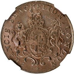 GREAT BRITAIN: AE halfpenny token, 1794. NGC MS66