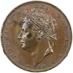 GREAT BRITAIN: George IV, 1820-1830, AE farthing, 1826. PCGS MS63