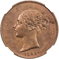 GREAT BRITAIN: Victoria, 1837-1901, AE halfpenny, 1841. NGC MS64