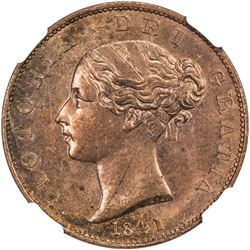 GREAT BRITAIN: Victoria, 1837-1901, AE halfpenny, 1841. NGC MS63