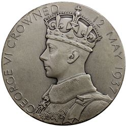 GREAT BRITAIN: George VI, 1937-1952, AR medal (83.30g), 1937. AU