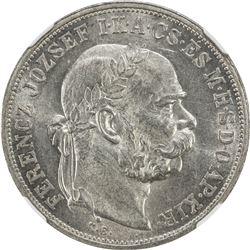 HUNGARY: Franz Joseph, 1848-1916, AR 5 korona, 1908-KB