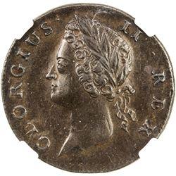 IRELAND: George II, 1727-1760, AE farthing, 1738. NGC AU58