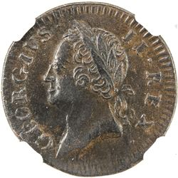 IRELAND: George II, 1727-1760, AE farthing, 1760. NGC AU53