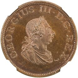 IRELAND: George III, 1760-1805, AE halfpenny, 1805. NGC PF65