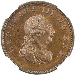 IRELAND: George III, 1760-1805, AE farthing, 1805. NGC PF64