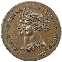 LUCCA: Felice Bacciocchi and Elisa Bonaparte, 1805-1814, AE 5 centesimi, 1806. EF-AU