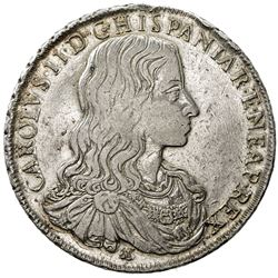 NAPLES: Carlo II of Spain, 1674-1700, AR ducato (27.85g), 1684. VF