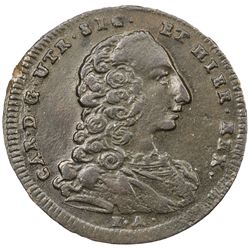NAPLES: Carlo de Borbone, 1734-1759, AE 9 cavalli (5.04g), 1756 MM, KM-166, Mont-94, VF-EF