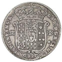 NAPLES & SICILY: Carlo III, 1734-1759, AR 120 grani (25.14g), 1748. F-VF