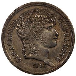 NAPLES & SICILY: Joachim Murat, under Napoleon, 1808-1815, AR 2 lire, 1813. VF