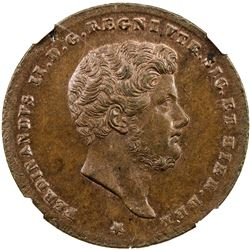 NAPLES & SICILY: Ferdinando II, 1830-1859, AE 2 tornese, 1853. NGC MS64