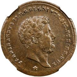 NAPLES & SICILY: Ferdinando II, 1830-1859, AE 2 tornese, 1857. NGC MS65
