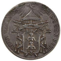 PAPAL STATES: Sede Vacante, 1823, AR 1/2 scudo, 1823-B. VF-EF