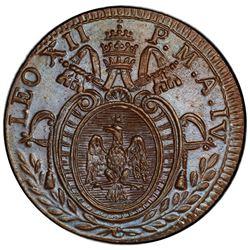 PAPAL STATES: Leo XII, 1823-1829, AE quattrino, 1826-R. PCGS MS65