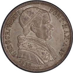 PAPAL STATES: Gregory XVI, 1831-1846, AR 50 baiocchi ( 1/2 scudo), 1834-R. PCGS MS63