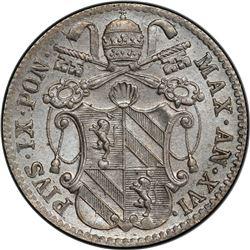 PAPAL STATES: Pius IX, 1846-1878, AR 5 baiocchi, 1861-R, year 16. PCGS MS64
