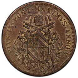 PAPAL STATES: Pius IX, 1846-1870, AE 5 baiocchi, 1850 year 5. PCGS AU
