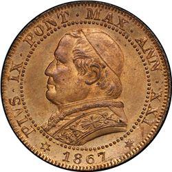 PAPAL STATES: Pius IX, 1846-1878, AE soldo, 1867-R, year 21. PCGS MS64