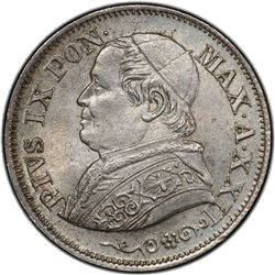 PAPAL STATES: Pius IX, 1846-1878, AR 10 soldi, 1867-R, year 22. PCGS MS64