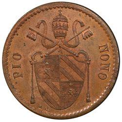 PAPAL STATES: Pius IX, 1846-1878, AE 2 baiochhi, Gaeta, 1848. PCGS MS63