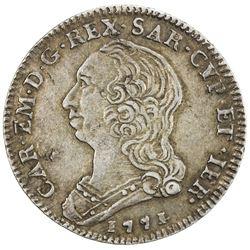 SARDINIA: Carlo Emanuele III, 1730-1773, AR 1/4 scudo (8.75g), Turino, 1771. VF