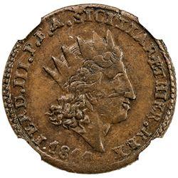 SICILY: Ferdinando III, 2nd reign, 1815-1816, AE 2 grani, 1814. NGC AU55
