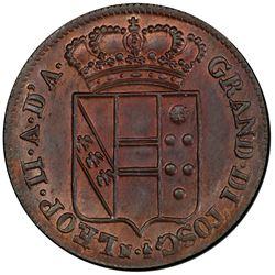 TUSCANY: Leopoldo II, 1824-1859, AE 3 quattrini, 1833. PCGS MS65