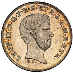 TUSCANY: Leopoldo II, 1824-1859, AR 1/2 paolo, 1857. PCGS MS64