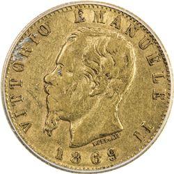 ITALY: Vittorio Emanule I, 1861-1878, AV 20 lire, 1869-T. ICG EF40