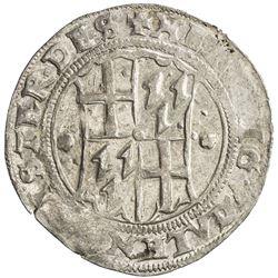 LIVONIAN ORDER: Heinrich von Galen, 1551-1557, AR 1/2 mark (5.19g), [15]56. EF
