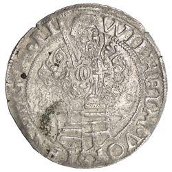 LIVONIAN ORDER: Wilhelm von Furstenberg, 1557-1559, AR 1/2 mark (5.02g), Riga, [15]57. EF